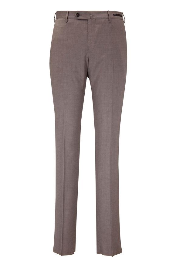 PT Pantaloni Torino Solid Tan Wool Slim Fit Pant