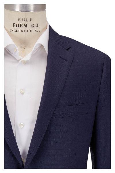 Hickey Freeman - Traveler Navy Blue Hopsack Wool Sportcoat