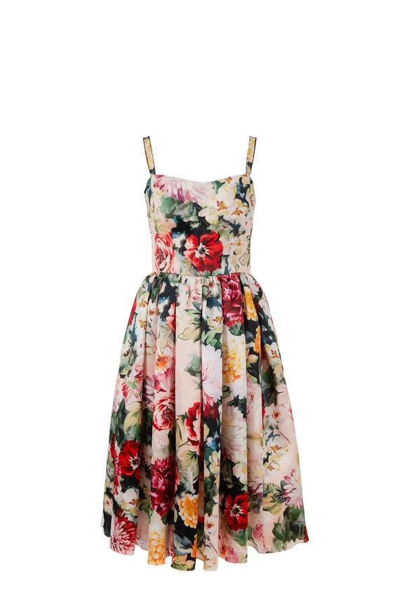 Dolce & Gabbana Pink Floral Silk Organza Sleeveless Dress