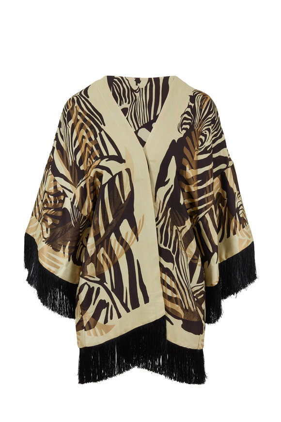 Etro Gold & Black Animal Print Fringed Poncho