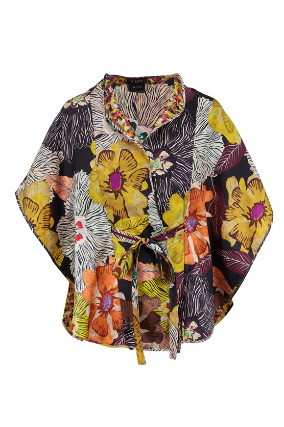Etro Yellow & Black Floral Reversible Belted Poncho