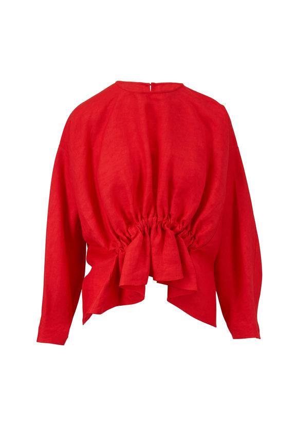 Derek Lam Bright Red Linen Gathered Waist Top