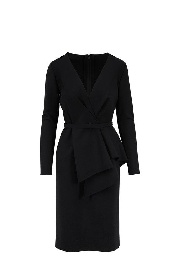 Oscar de la Renta Black Double-Face Stretch Wool Peplum Pencil Dress