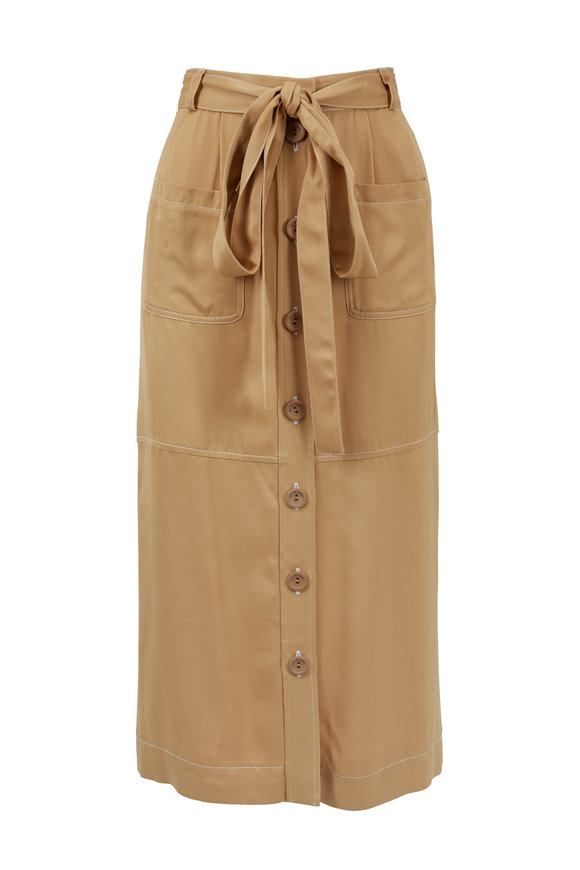 See by Chloé Jungle Brown Tencel Patch-Pocket Belted Skirt