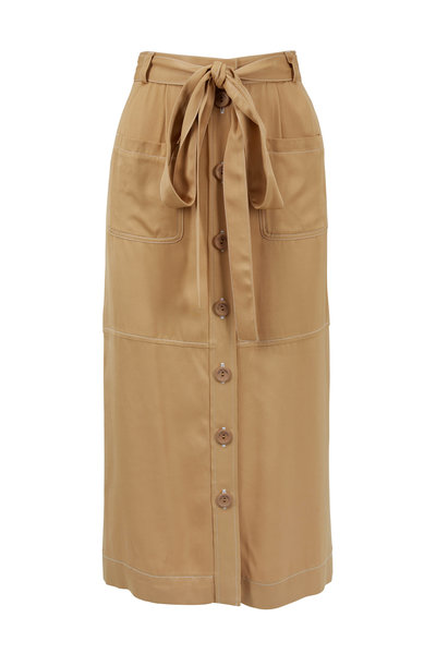 See by Chloé - Jungle Brown Tencel Patch-Pocket Belted Skirt