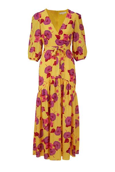 Borgo De Nor - Salma Yellow & Fuchsia Hibiscus Maxi Dress