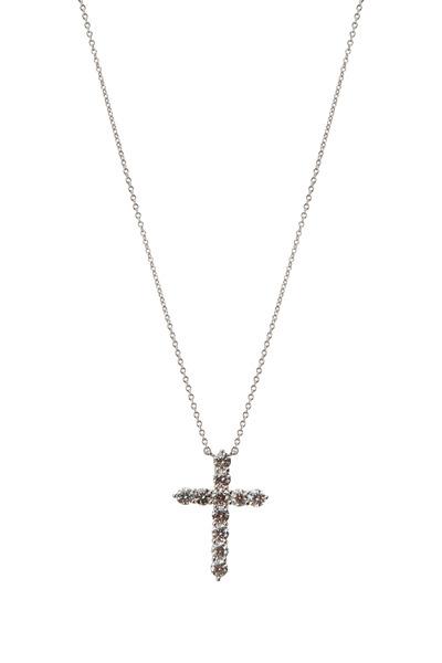 Kwiat - 18K White Gold Diamond Cross Pendant Necklace