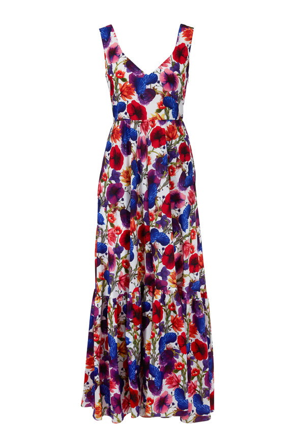 Borgo De Nor Venetia Ivory Multicolor Floral Sleeveless Dress