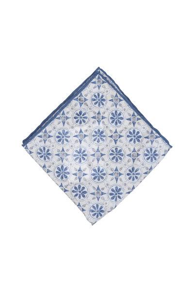 Calabrese - Blue & Cream Geometric Linen Pocket Square