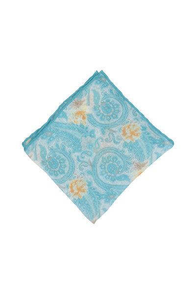 Calabrese - Aqua Paisley Linen & Silk Pocket Square