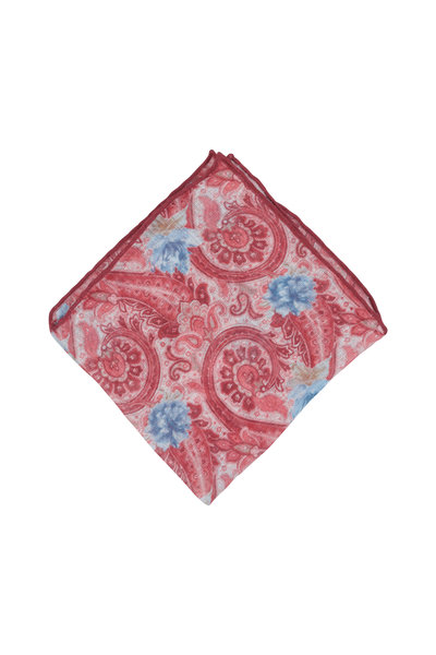 Calabrese - Red Linen & Silk Paisley Pocket Square