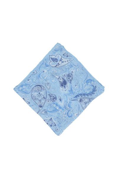 Calabrese - Light Blue Linen & Silk Paisley Pocket Square