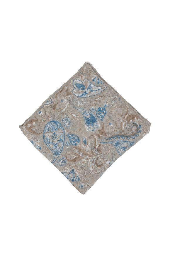 Calabrese Tan Linen & Silk Paisley Pocket Square