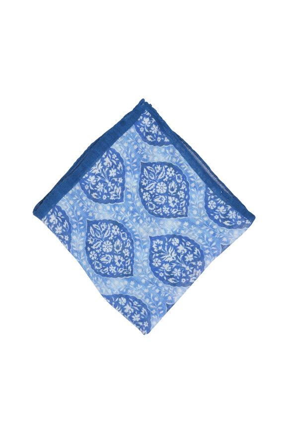 Calabrese Aqua Paisley Linen & Silk Pocket Square