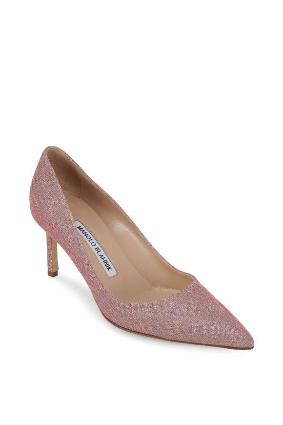 Manolo Blahnik Lisa Pink Glitter Pump, 70mm
