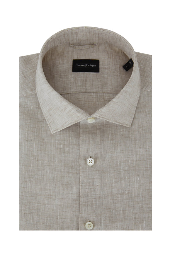 Ermenegildo Zegna Natural Linen Short Sleeve Sport Shirt