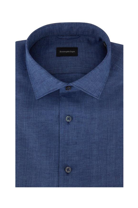 Ermenegildo Zegna Chambray Linen Short Sleeve Sport Shirt