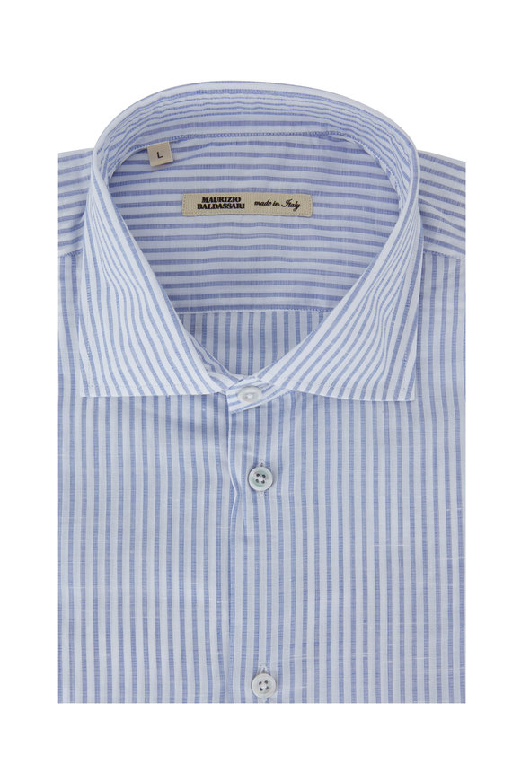 Maurizio Baldassari Blue & White Striped Linen Blend Sport Shirt