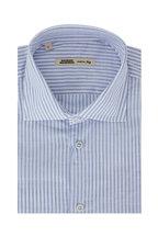 Maurizio Baldassari - Blue & White Striped Linen Blend Sport Shirt