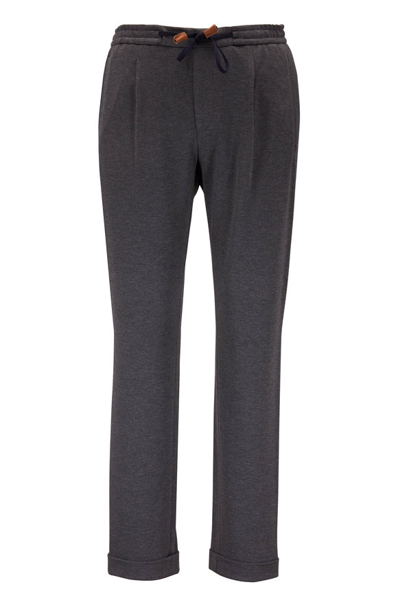 Baldessarini Charcoal Gray Knit Cuffed-Hem Jogger