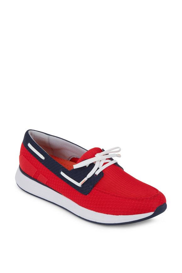 Swims Breeze Red Alert & Navy Mesh Boat Shoe