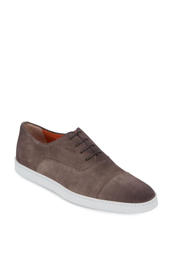 Santoni Durbin Dark Gray Suede Cap-Toe Shoe