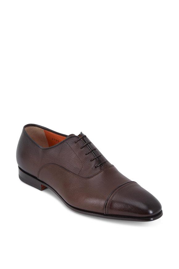 Santoni Iafet Dark Brown Textured Leather Cap-Toe Oxford