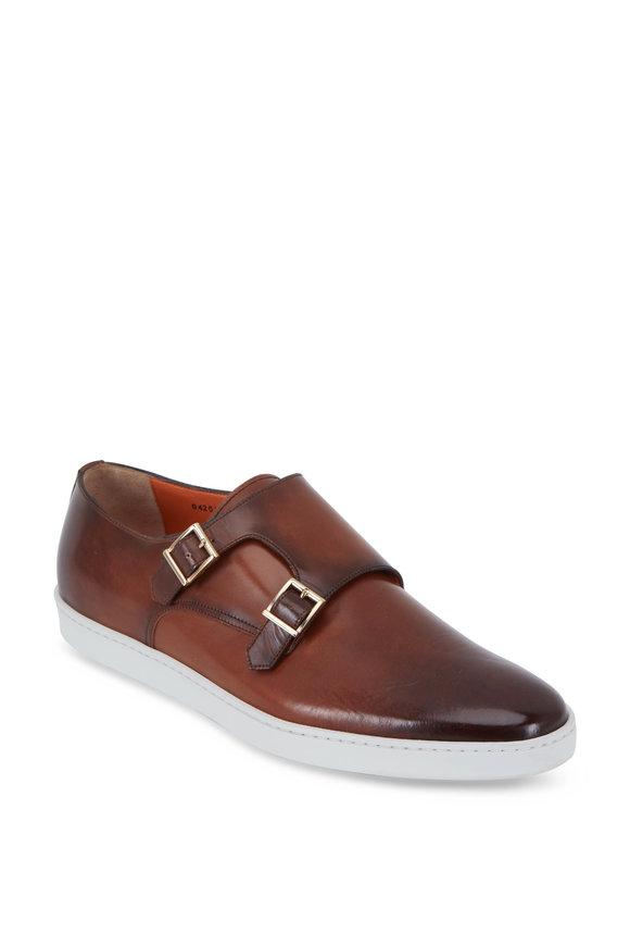 Santoni Freemont Brown Burnished Leather Monk Shoe