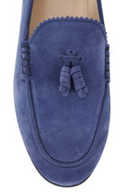 Tod's - Denim Blue Suede Tassel Loafer