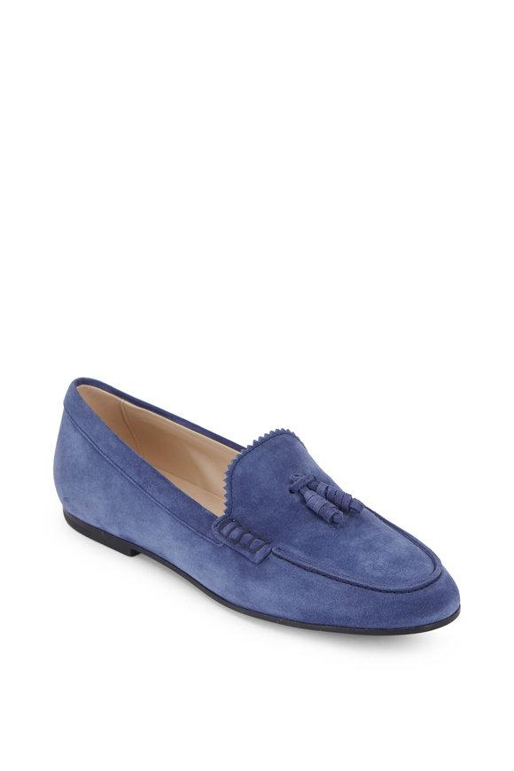 Tod's Denim Blue Suede Tassel Loafer