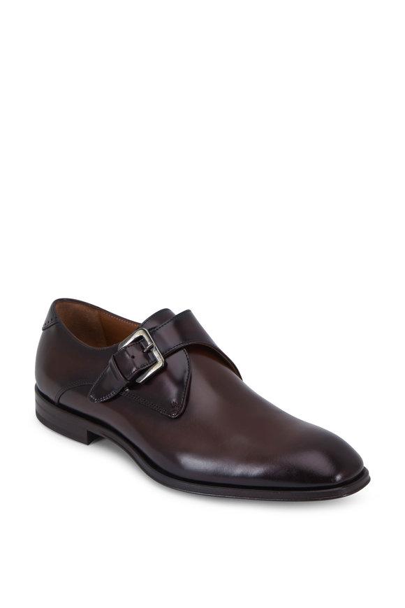 Bruno Magli Lucio Dark Brown Leather Single Monk Shoe