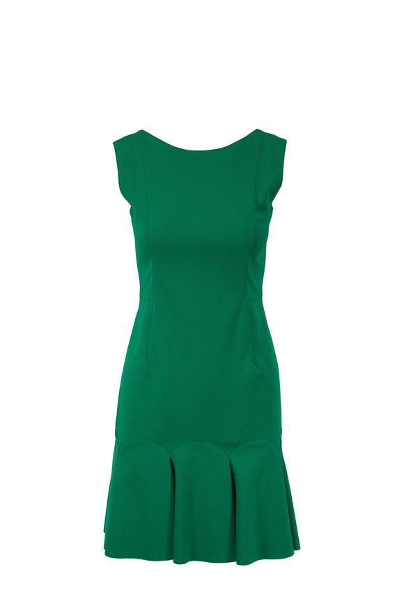 Akris Punto Green Flounce Hem Sleeveless Dress