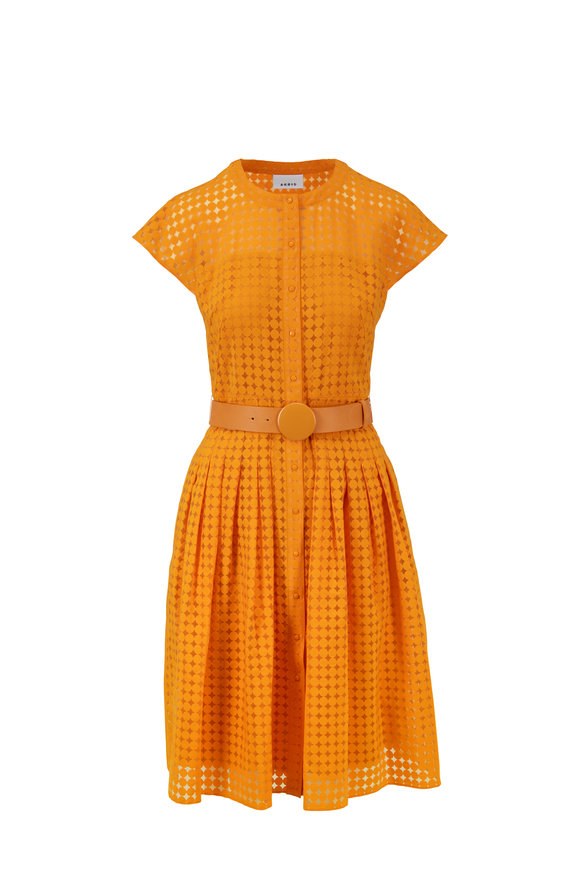 68355ca7d2 Akris Punto Orange Dot Cap Sleeve Belted Dress