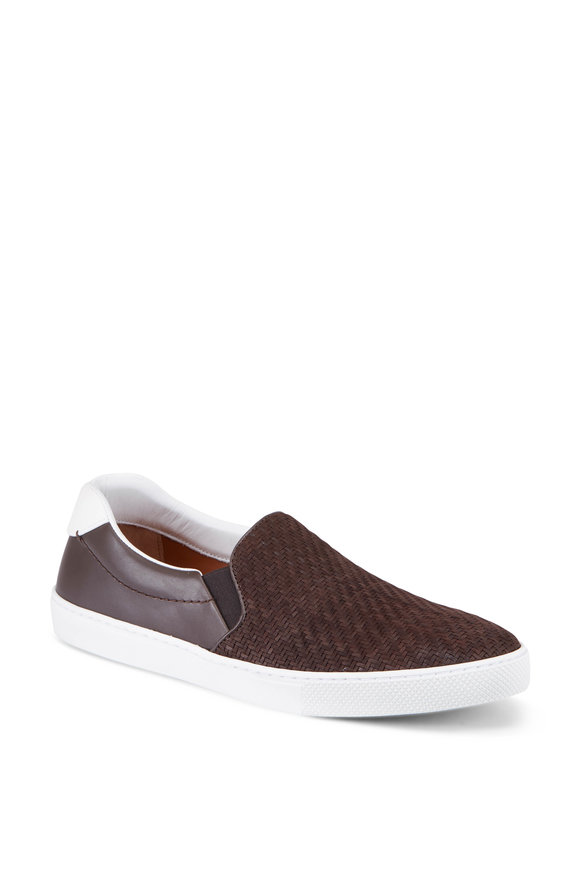 Ermenegildo Zegna Leonardo Woven Leather Slip-On Sneakers