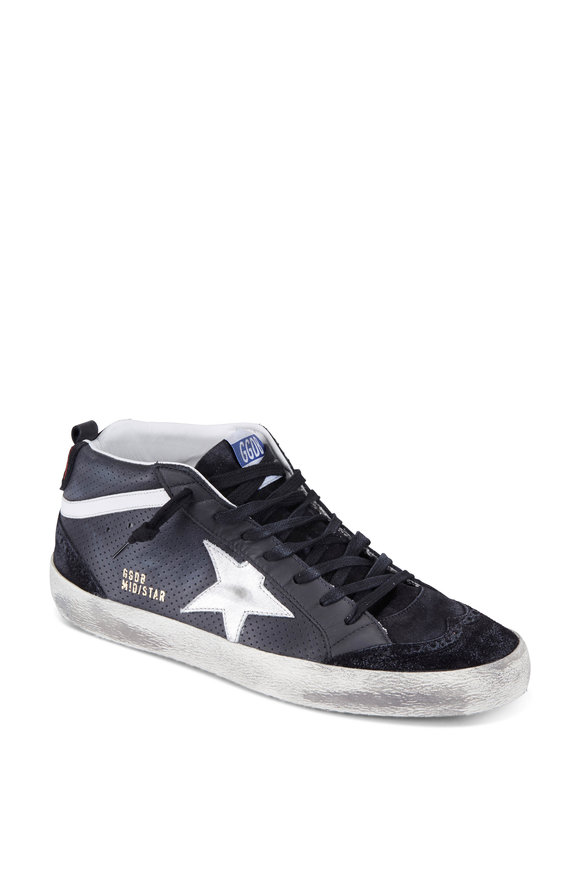 Golden Goose Mid Star Black  Leather & Silver Star Sneaker