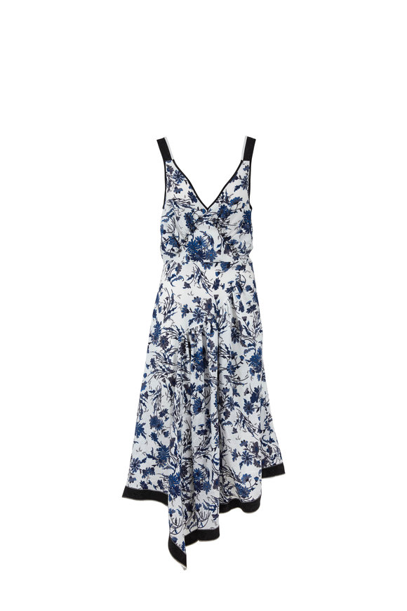 Derek Lam Nightshade Floral Silk Jacquard Asymmetric Dress