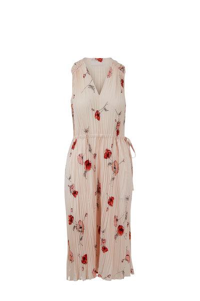 Vince - Pale Blush Tossed Poppy V-Neck Pleated Dress