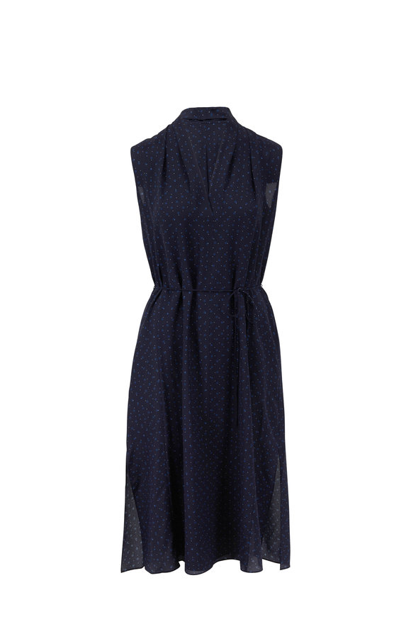 Vince Indigo Shadow Dot Draped Neck Sleeveless Dress