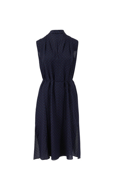 Vince - Indigo Shadow Dot Draped Neck Sleeveless Dress