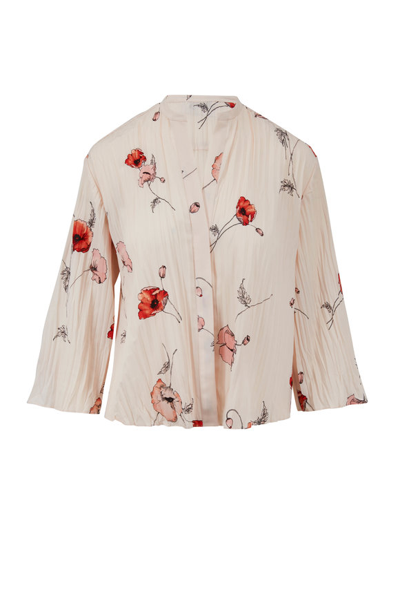Vince Pale Blush Tossed Poppy Pleated Blouse