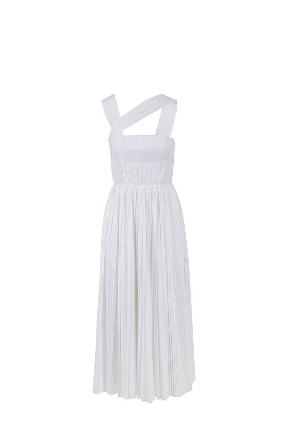 Gabriela Hearst Norah White Poplin Pleated Sleeveless Dress