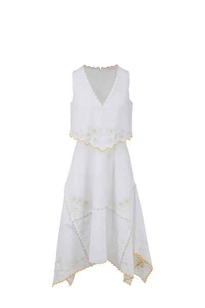 See by Chloé - White & Yellow Cotton Scarf Sleeveless Dress