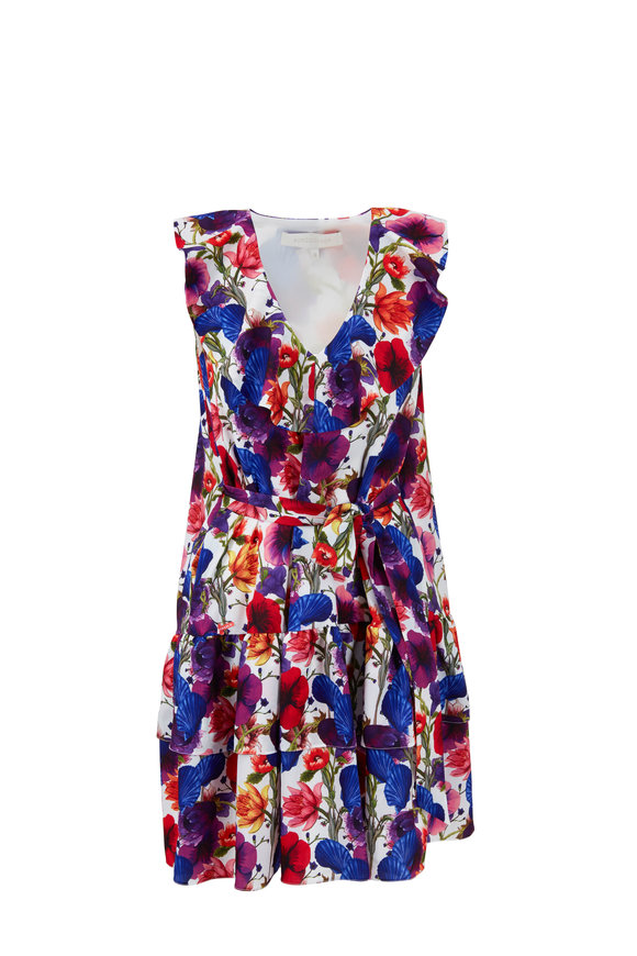 Borgo De Nor Carla Shell Ivory Multicolor Floral Ruffled Dress
