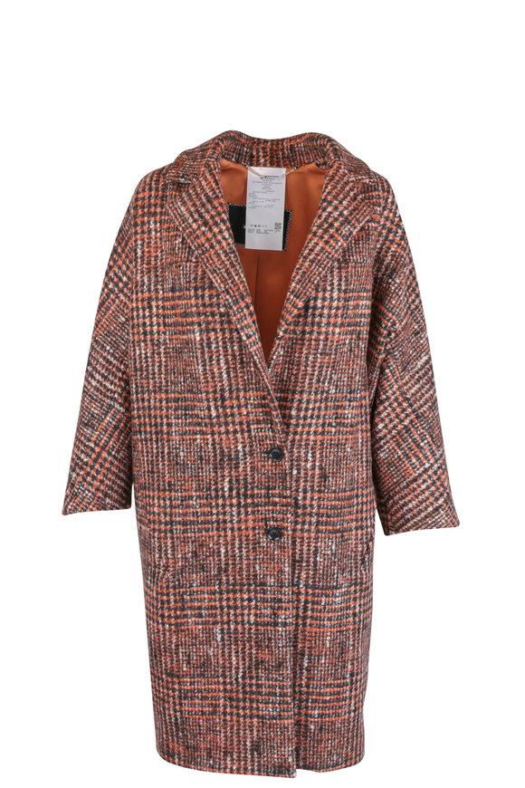Kiton Orange Wool & Alpaca Tweed Cocoon Coat