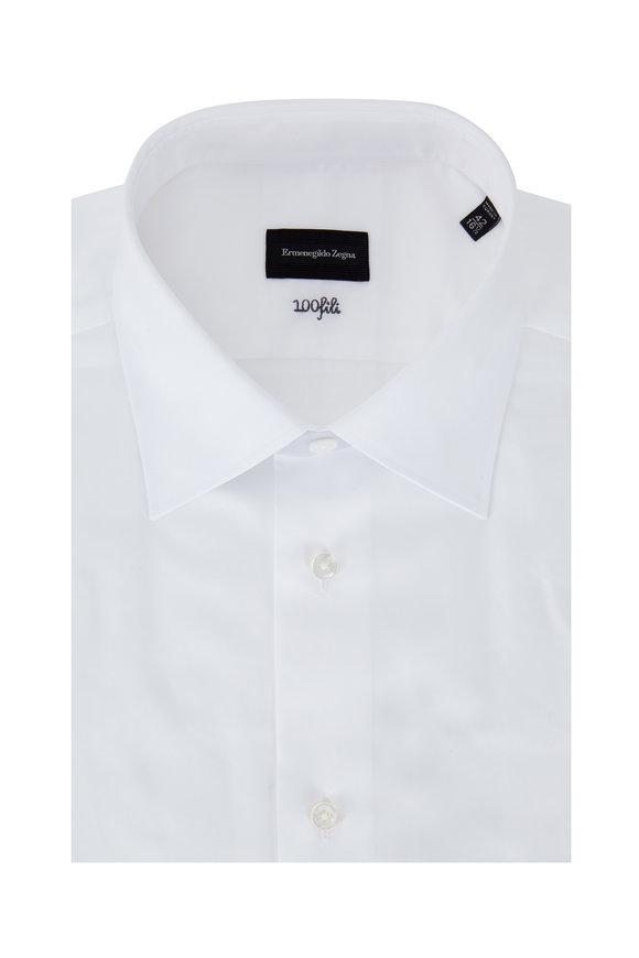 Ermenegildo Zegna Solid White Dress Shirt