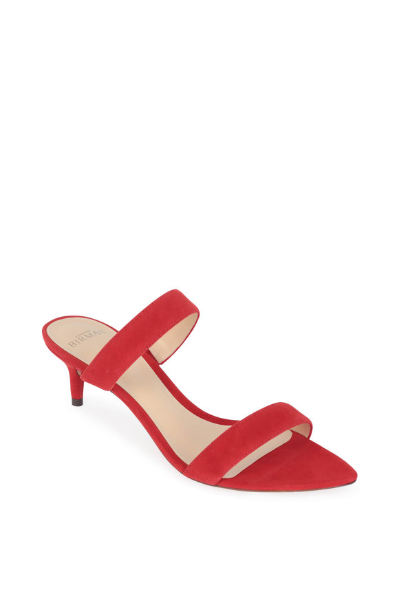 Alexandre Birman Leblon Red Suede Two-Band Slide, 50mm