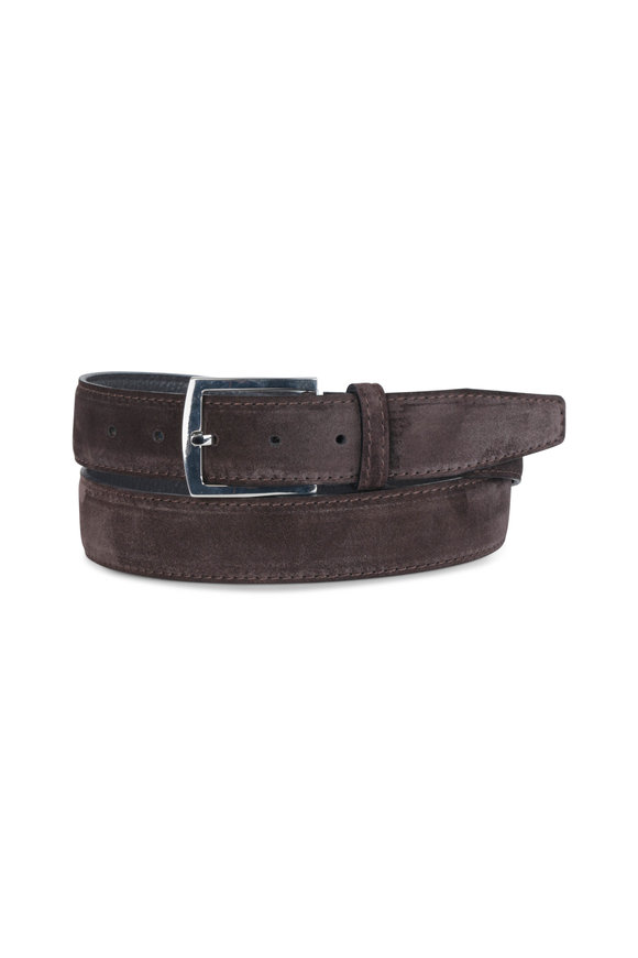 Kiton Dark Brown Suede Belt