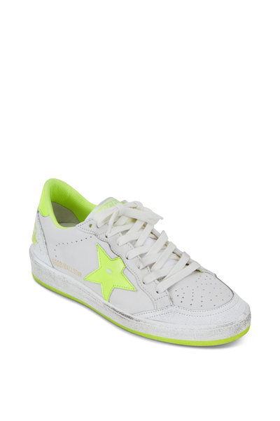 Golden Goose - Ball Star White & Neon Yellow Low Top Sneaker
