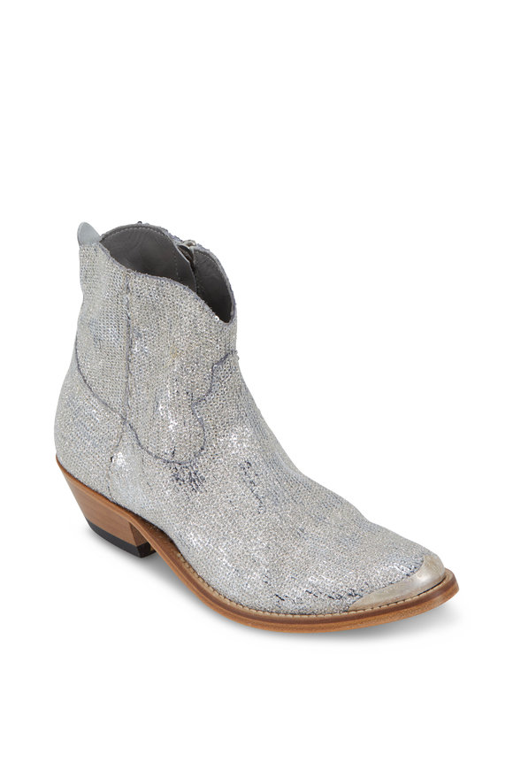 Golden Goose Young Silver Glitter Paillette Western Short Boot