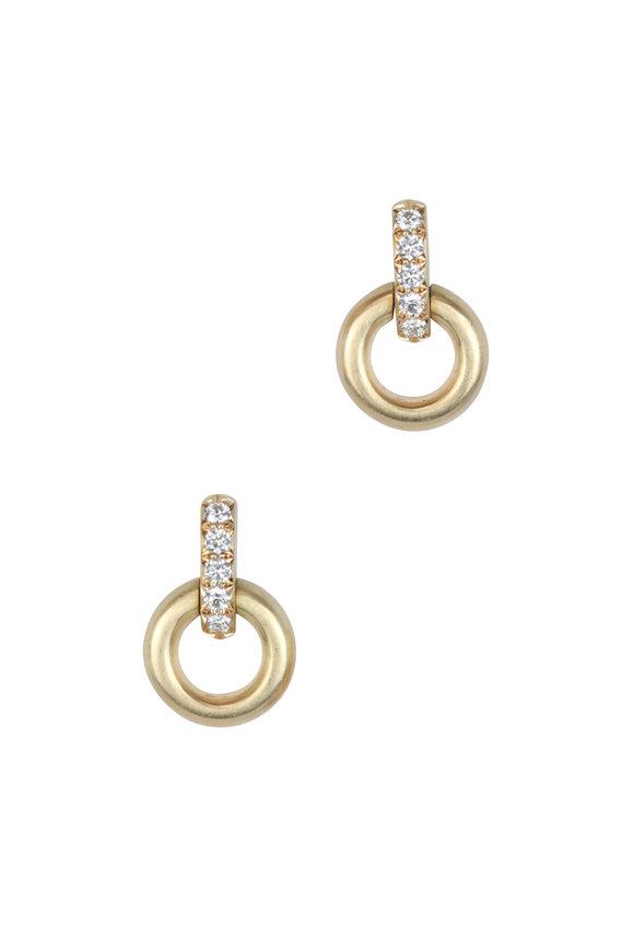 Caroline Ellen Yellow Gold Small Round Doorknocker Earrings